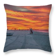 Morning Red Sky At Cape May New Jersey Throw Pillow