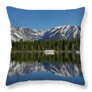 Morning Reflection Boats On Colter Bay Throw Pillow