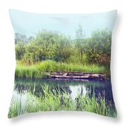 Morning River In Old Dutch Village Throw Pillow