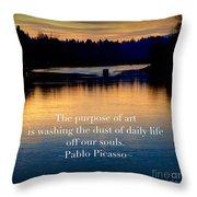 Morning River Run Throw Pillow
