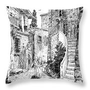 Morning Stroll In Montefioralle Tuscany Throw Pillow