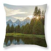 Morning Sun At Schwabachers Landing Throw Pillow