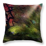 Morning Sun Rays On Old Japanese Maple Tree In Fall Throw Pillow