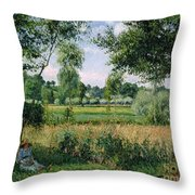 Morning Sunlight Effect At Eragny Throw Pillow by Camille Pissarro