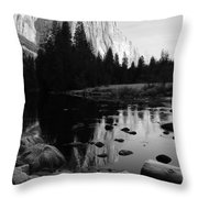 Morning Sunlight On El Cap - Black And White Throw Pillow