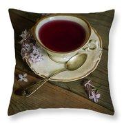 Morning Tea With Lilacs Throw Pillow