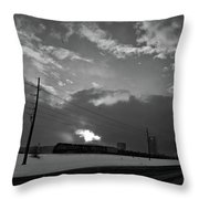 Morning Train In Black And White Throw Pillow