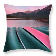Morning View Of Pyramid Lake In Jasper National Park Throw Pillow