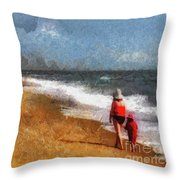 Morning Walk Along The Beach Throw Pillow