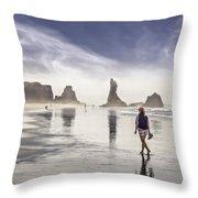 Morning Walk At The Beach Throw Pillow