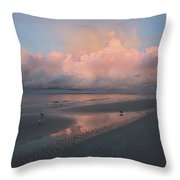 Morning Walk On The Beach Throw Pillow