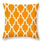 Moroccan Arch With Border In Tangerine Throw Pillow