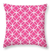 Moroccan Endless Circles I With Border In French Pink Throw Pillow