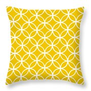 Moroccan Endless Circles I With Border In Mustard Throw Pillow