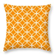 Moroccan Endless Circles I With Border In Tangerine Throw Pillow