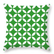Moroccan Endless Circles II With Border In Dublin Green Throw Pillow