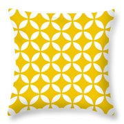 Moroccan Endless Circles II With Border In Mustard Throw Pillow