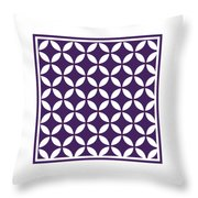 Moroccan Endless Circles II With Border In Purple Throw Pillow