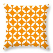 Moroccan Endless Circles II With Border In Tangerine Throw Pillow