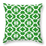 Moroccan Floral Inspired With Border In Dublin Green Throw Pillow