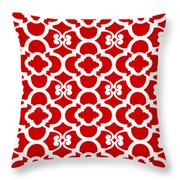 Moroccan Floral Inspired With Border In Red Throw Pillow