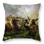Moroccan Horsemen In Military Action Throw Pillow by Ferdinand Victor Eugene Delacroix