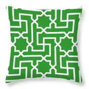 Moroccan Key With Border In Dublin Green Throw Pillow