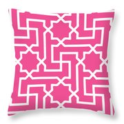 Moroccan Key With Border In French Pink Throw Pillow
