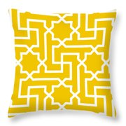 Moroccan Key With Border In Mustard Throw Pillow