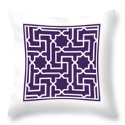 Moroccan Key With Border In Purple Throw Pillow