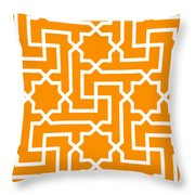 Moroccan Key With Border In Tangerine Throw Pillow
