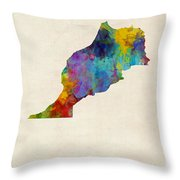 Morocco Watercolor Map Throw Pillow by Michael Tompsett