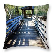 Morris Bridge Boardwalk Throw Pillow