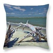 Morris Island Driftwood Throw Pillow