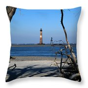 Morris Island Lighthouse Charleston Sc Throw Pillow