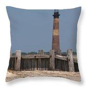 Morris Island Lighthouse Sea Wall Throw Pillow