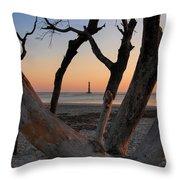 Morris Island Lighthouse Sunrise 2 Throw Pillow