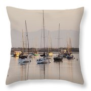 Morro Bay Boats In Early Morning Light   Throw Pillow
