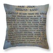 Morro Fortress - Puerto Rico Throw Pillow