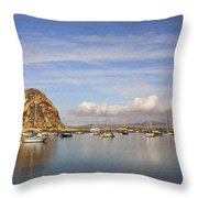 Morro Harbor And Rain Clouds Throw Pillow