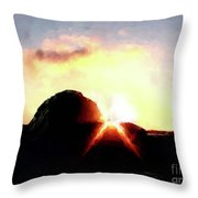 Morro Rock At Sunset Throw Pillow