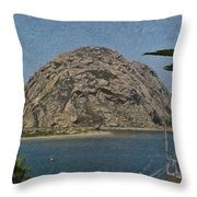 Morro Rock California Painting Throw Pillow