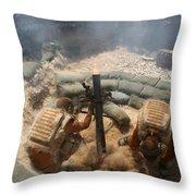 Mortar Crew In Action Throw Pillow