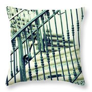 Mosaic And Iron Staircase La Quinta California Art District In Mint Tones Photograph By Colleen Throw Pillow