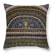 Mosaic And Shell Fountain Getty Villa Malibu California Throw Pillow