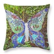 Mosaic Butterfly Throw Pillow