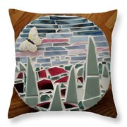 Mosaic Sailboats Throw Pillow by Jamie Frier