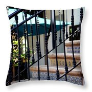 Mosaic Tile Staircase In La Quinta California Art District Throw Pillow