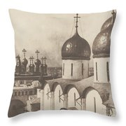 Moscow, Domes Of Churches In The Kremlin Throw Pillow