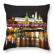 Moscow Evening, Overlooking The Kremlin. Throw Pillow